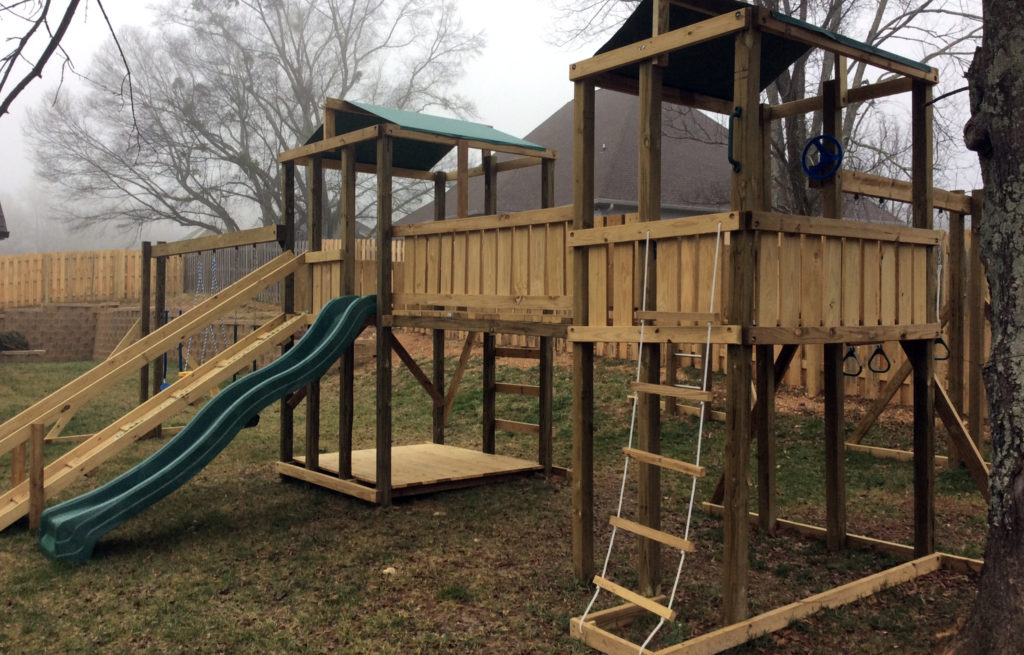 $3395 4x6 jungle 6x6 jungle, hops up package,ramp with rails,rope ladder,covered 6x6 bottom floor, swings, trapeze, bridge with wall boards.
