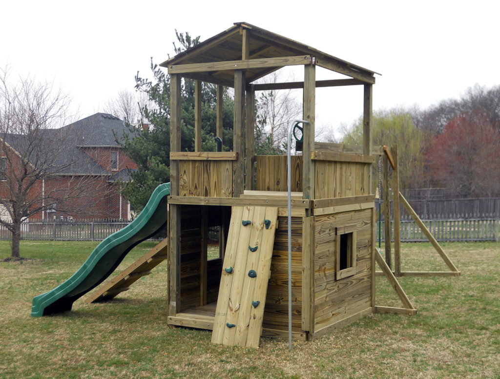 6x6 model as shown $2725 including HOP's UPgrade, Wooden Roof, Wooden Ramp with Rope, Rock Climbing Wall, Fireman's Pole, Soft Grip Swings, and Periscope