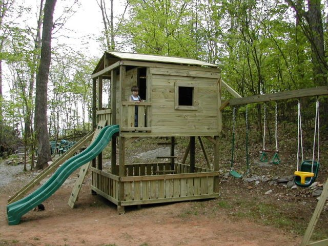 8x8 model as shown $3725 including HOP's UPgrade, Lower-level Wall Boards, Wooden Ramp with Rope, Trap Door with Rope Ladder, Soft Grip Swings, Trapeze Bar with Rings, and Childseat