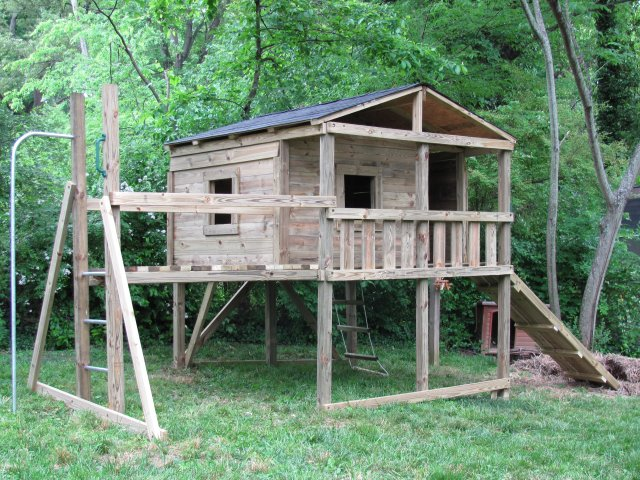 8x8 model as shown $3250 including Shingled Roof, Wooden Ramp with Rope, Trap Door with Rope Ladder, Wooden Bridge, Fireman's Pole and Additional Window