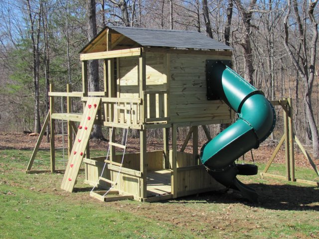 8x8 model as shown $4975 including HOP's UPgrade, Lower-level Wall Boards, Enclosed Turbo Slide, Shingled Roof, Rock Climbing Wall, Rope Ladder, Soft Grip Swings, Wooden Bridge, Tire Swing, and Fireman's Pole