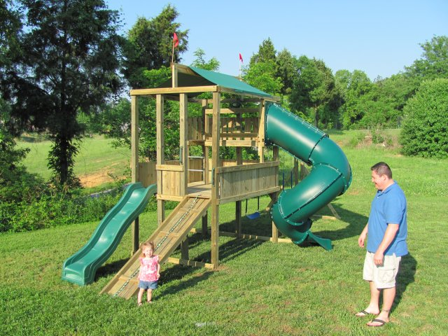 6x8 model as shown $2900 including Wooden Ramp with Rope, and Soft Grip Swings