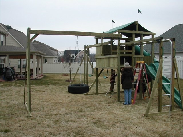 6x8 model as shown $3800 including HOP's UPgrade, Tire Swing, Monkey Bars, Trap Door with Rope Ladder, Fireman's Pole, and Soft Grip Swings