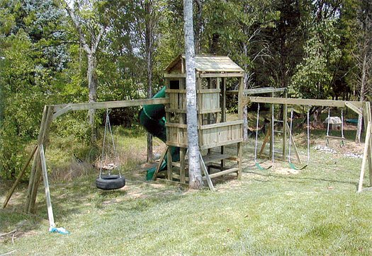 4x6 model as shown $3175 including Tire Swing, Wooden Roof, Monkey Bars, Picnic Table, and Fireman's Pole