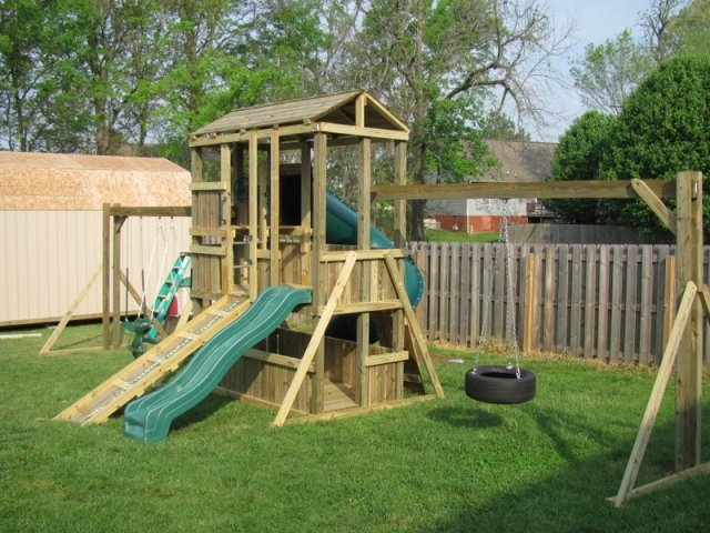 4x8 model as shown $3350 including Lower-level Wall Boards, Wooden Roof, Tire Swing, Soft Grip Swings, Glider Horse, and Wooden Ramp with Rope