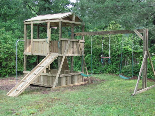 6x8 model as shown $2450 including HOP's UPgrade, Wooden Ramp with Rope, Wooden Roof, Rock Climbing Wall, Fireman's Pole, and Soft Grip Swings