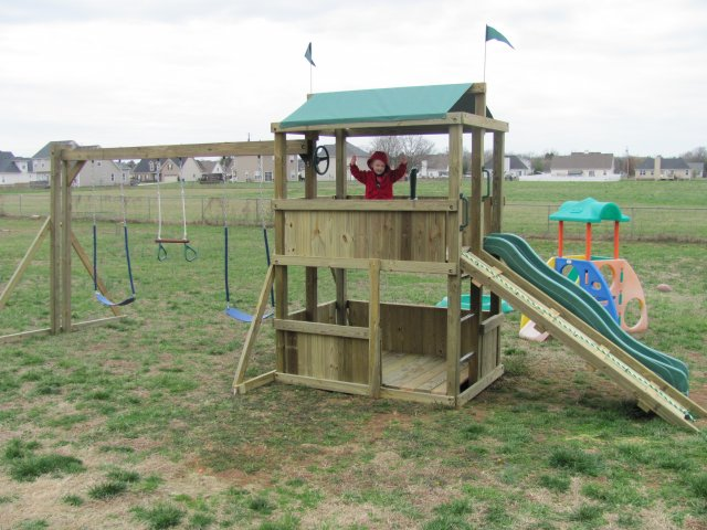 4x6 model as shown $1350 including Wooden Ramp with Rope, Soft Grip Swings, and Periscope
