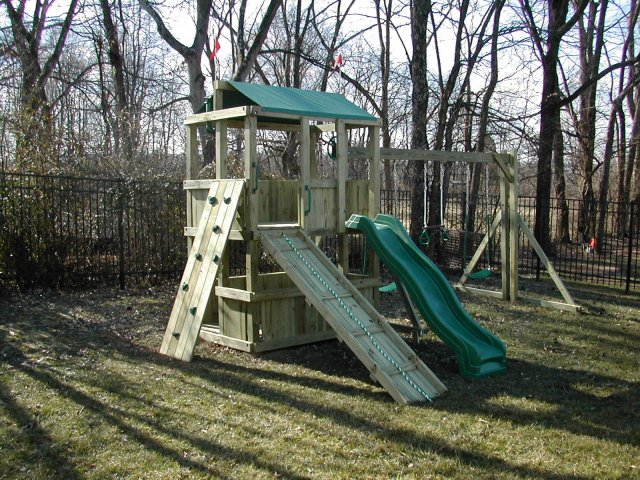 4x6 model as shown $1550 including Wooden Ramp with Rope, Green Rock Climbing Wall, Soft Grip Swings, and Periscope