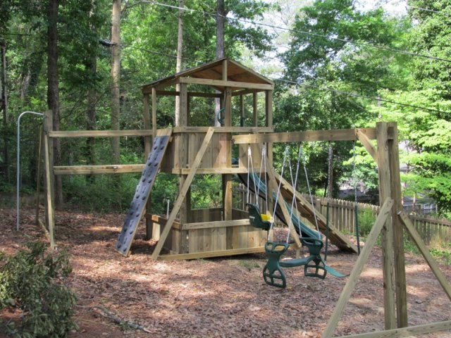 6x6 model as shown $2725 including HOP's UPgrade, Shingled Roof, Wooden Ramp with Rope, Wooden Bridge, Fireman's Pole, Grey Rock Climbing Wall, Soft Grip Swings, Childseat, and Glidder Horse