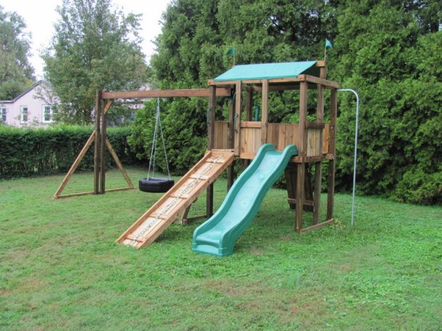 4x6 model as shown $1295 including Tire Swing Substitute, Trapeze Bar with Rings, Ramp with Rope, Rock Wall, Fireman's Pole, and Periscope