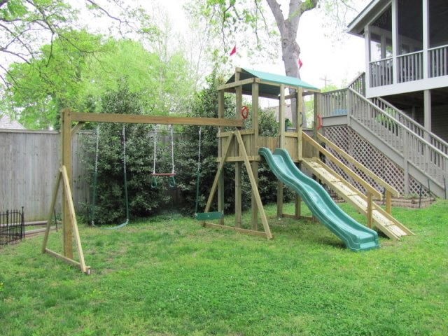 4x6 model as shown $1395 including HOP's UPgrade, Wooden Ramp with Rope and Handrails, Soft Grip Swings, and Periscope