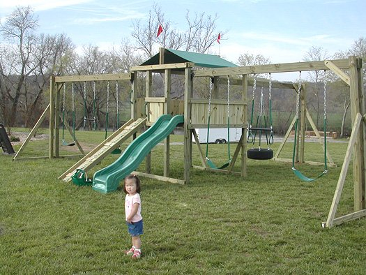 6x6 model as shown $1925 including Wooden Ramp with Rope, Soft Grip Tire Swing, Additional Swing Beam, Soft Grip Swings, and Soft Grip Trapeze Bar with Rings