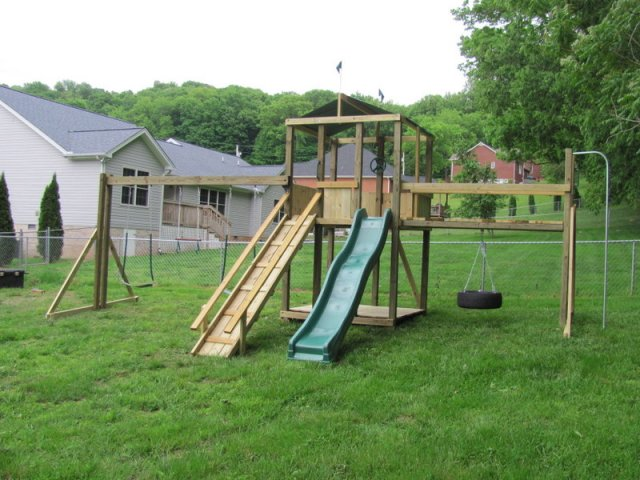 6x6 model as shown $2050 including HOP's UPgrade, Wooden Ramp with Flat Handrails, Wooden Floor, Wooden Bridge with Tire Swing, Fireman's Pole, Soft Grip Swings, and Trapeze Bar with Rings