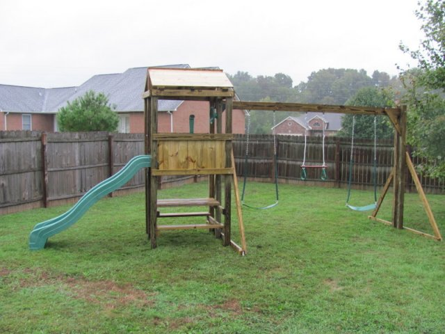 4x4 model as shown $1175 including Wooden Roof, Picnic Table, Soft Grip Swings and Periscope