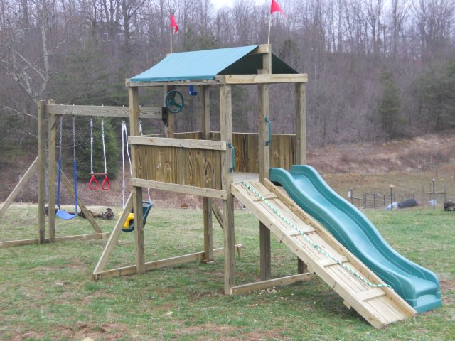 4x6 model as shown $1050 including Ramp with Rope, Soft Grip Swings, Periscope and Childseat