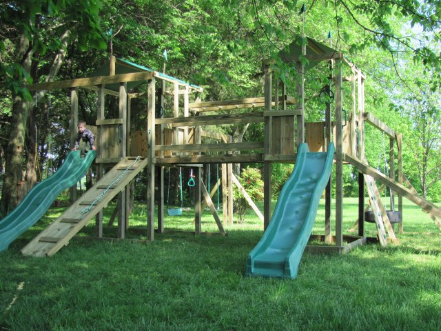 $3825.00 6x6 Jungle House and 4x6 Jungle House models including HOP's UPgrades, Wooden Bridge and Monkey Bars,ramps, rock wall,tire swing,swings trapeze